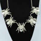 5 Tarantula Spider Necklace Pendant W/ Clear Swarovski Crystals Halloween