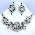Popular Fancy Black Rose Flower Necklace Earring Set W/ Gray Rhinestone Crystals