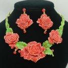 Swarovski Crystal Ideal Fancy Red Rose Flower Necklace Earring Set W/ Green Leaf