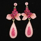 Gold Tone Chic Drop Dangle Pierced Flower Earring W/ Pink Rhinestone Crystals