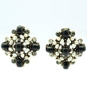 Black Acrylic Faux Pearl Pierced Earring W/ Clear Rhinestone Crystals 00470