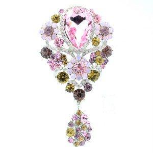 "Silver Tone Dangle Pink Flower Brooch Pin 3.8"" Rhinestone Crystals 6024"