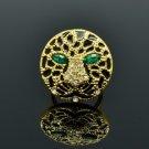 Swarovski Crystals Animal Panther Leopard Cocktail Ring 9# w/ Green Eye R08563