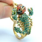 Swarovski Crystals Green Scorpion Cocktail Ring Size 8# W/ Red Ladybug SR2109-2
