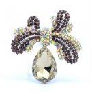 "Bowknot Drop Flower Brooch Pin 2.4"" W/ Brown Rhinestone Crystals 5988"