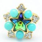 Green A/B Swarovski Crystals Acrylic Star Cocktail Ring Size Adjustable 267033