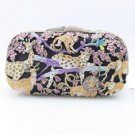 Panther Deer Tiger Clutch Evening Bag Purse Handbag Purple Swarovski Crystals