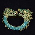 Vintage Style Animal Blue 2 Dragon Brooch Pin 2.7 W/ Rhinestone Crystals