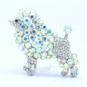 """Lovely Animal Dog Poodle Brooch Pin 2.3"""" W/ Clear Rhinestone Crystals"""