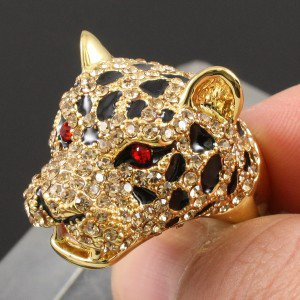 Swarovski Crystals Cute Brown Leopard Panther Cocktail Ring Size 8# SR1695-1