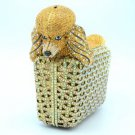 Swarovski Crystals Hi-Quality Topaz Dog Poodle Clutch Evening Bag Purse Handbag