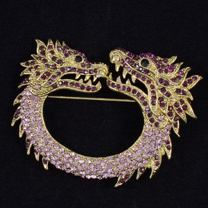 Vintage Style Animal Purple 2 Dragon Brooch Pin 2.7 W/ Rhinestone Crystals