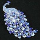 """Pretty Blue Animal Peafowl Peacock Brooch Pin 4.5"""" W/ Rhinestone Crystals 5651"""