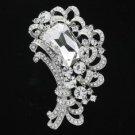 """Rhinestone Crystals Clear Floral Flower Brooch Broach Pin 3.1"""" Wedding 6031"""