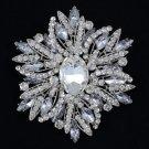 "Swarovski Crystals Clear Pendant Flower Brooch Pin 4.0"" For Wedding 4053"