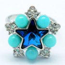 Swarovski Crystals Acrylic Blue Star Cocktail Ring Size Adjustable 267013