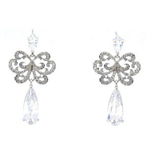 Wedding Rhinestone Crystals Dangle Pierced Flower Earring W/ Clear Zircon 7311
