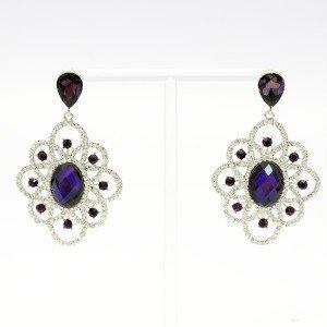 Silver Tone Purple Flower Pierced Dangle Earring W/ Rhinestone Crystals 123933
