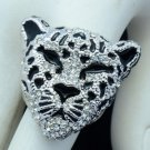 Cute Animal Panther Leopard Cocktail Ring 8# W/ Clear Rhinestone Crystals 07687