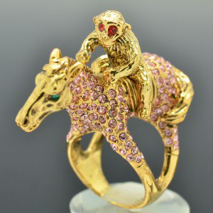 High Quality Monkey Horse Cocktail Ring Sz 7# Pink Swarovski Crystals SR2041