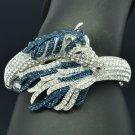Exquisite Blue Rhinestone Crystals Tail Horse Bracelet Bangle Cuff 20810