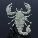 Rhinestone Crystals Animal Clear Scorpion Cocktail Ring Size 6#