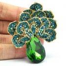 Rhinestone Crystals Vintage Style Dark Green Flower Broach Brooch Pendant 6175