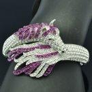 Exquisite Purple Rhinestone Crystals Tail Horse Bracelet Bangle Cuff 20810