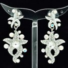 High Quality Clear Swarovski Crystals Dangle Starfish Pierced Earring SEA0877-2