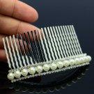 Bride Single Row Faux Pearl Hair Comb Head Jewelry w/ Rhinestone Crystals 633101