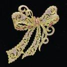 "Gold Tone Bow Bowknot Brooch Pin 4.0"" W/ Pink Rhinestone Crystals 5823"