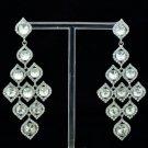 Chic Dangle Leaf Flower Pierced Earring W/ Clear Rhinestone Crystals 122418