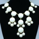 Fashion Dangle White Acrylic Resin Bead Necklace Pendant W/ Gold Tone