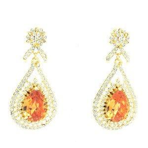 Topaz Zircon Drop Flower Pierced Dangle Earring W/ Swarovski Crystals 10010