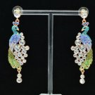 High Quality Swarovski Crystals Blue Peafowl Peacock Pierced Earring SEA0837-4