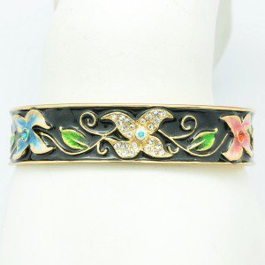 Black Enamel Flower Bracelet Bangle Cuff W/ Clear Swarovski Crystals SKA2034M-2