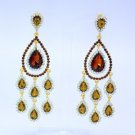 Exquisite Flower Teardrop Pierced Dangle Earring W/ Brown Rhinestone Crystals