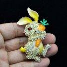 Swarovski Crystals Radish Yellow Bunny Rabbit Brooch Broach Pin SBA4474-2