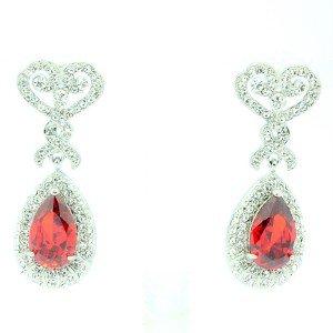 Red Zircon Dangle Flower Pierced Earring W/ Clear Rhinestone Crystals 21251