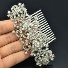 Wedding Dazzling Floral Flower Hair Comb w/ Clear Rhinestone Crystals 23182R
