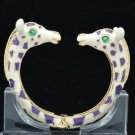 Purple Enamel 2 Giraffe Bracelet Bangle Cuff W/ Clear Rhinestone Crystals L1074