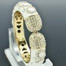 Chic Fashion Flower Bracelet Bangle w/ White Enamel Rhinestone Crystals 00607
