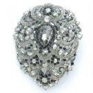 "Swarovski Crystals Big Drop Black Pendant Flower Brooch Broach Pin 4.9"" 4045"
