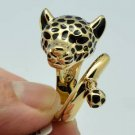 Gold Tone High Quality Leopard Panther Cocktail Ring Size 7# 15766