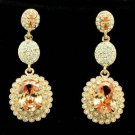 Topaz Zircon Rhinestone Crystals Dangle Flower Pierced Earring Wedding 20576