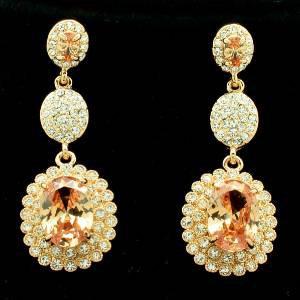 Topaz Zircon Rhinestone Crystals Dangle Flower Pierced Earring Wedding 20576
