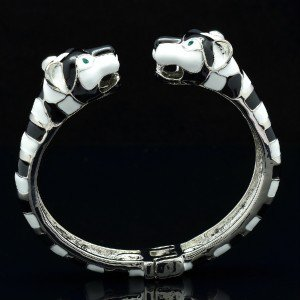 Silver Tone Fashion Enamel 2 Panther Leopard Bracelet Bangle W/ Green Eye 01069
