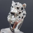 Swarovski Crystals High Quality Panther Leopard Cocktail Ring Size 6# SR1551-2