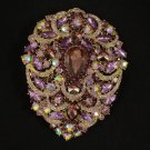 4045 Rhinestone Crystals Big Purple Pendant Flower Brooch Broach Pin 4.9""