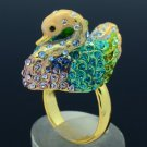 Swarovski Crystals H-Quality Pretty Green Swan Cocktail Ring Size Adjustable